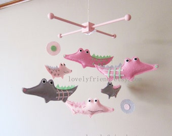 """Baby Mobile - Nursery Mobile - Pink Wood Hanger Crib Baby Mobile - """"Pink Girly Alligators """" Mobile (Custom Color Available)"""
