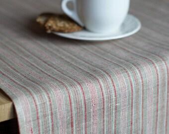 Striped Table Runner  Natural Gray Linen With Red Stripes Table Decor Living Linens Minimal Runner