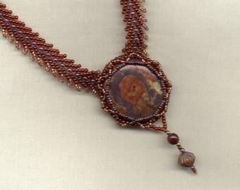 Birdseye Rhyolite Cabochon Beadwork Necklace with Double St. Petersburg Stitch Chain