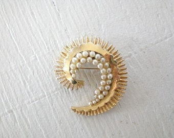 Vintage Coro Brooch Faux Pearl Gold Tone C Scroll Swirl Textured Mid Century Costume Jewelry GallivantsVintage