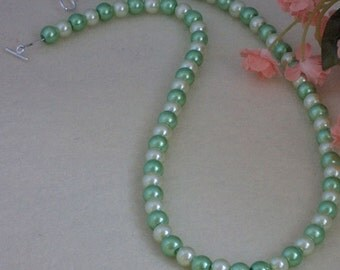 Mint & Light Yellow Glass Pearl Necklace  FREE SHIPPING