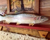 Rainbow Trout 4ft chainsaw wooden trout carving colorful trophy lake fish realistic taxidermy wall mount rustic cabin home decor art