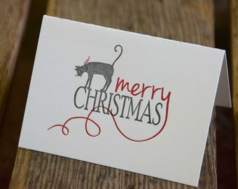 Merry Christmas Kitty 15 pack, letterpress printed, cat and ribbon, eco friendly