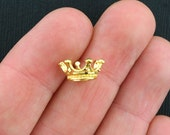 8 Crown Charms Gold Tone 3 Dimensional - GC358