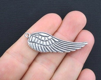 4 Large Wing Charms Antique Silver Tone 2 Sided - SC3373