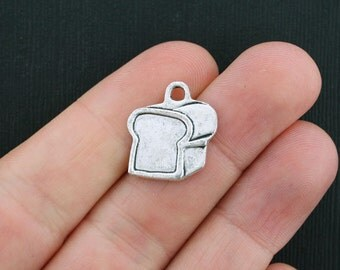 6 Bread Charms Antique Silver Tone Loaf of Bread Charm - SC3594