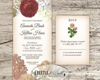 Vintage Botanicals Printable Wedding Invitation Suite