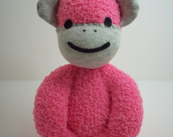 Baby's first sock monkey baby safe plush stuffed toy in medium pink and light grey, monkey nursery, baby safe stuffed toy sock monkey