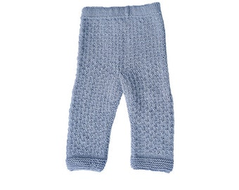 Children's baby / toddler girl / boy hand knitted hipster pants / trousers, light grey wool, fall, winter, 6-9-12-18-24 months, 2T 3T
