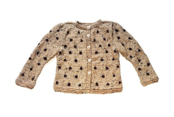SALE Girls jacket knitted cardigan Beige brown embroidery warm wool winter knitting with heart shaped buttons 2-3 T OOAK