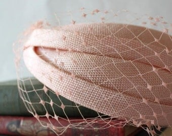 Peach Veil Netting - French Net Birdcage Material, Half or Full 1 Yard