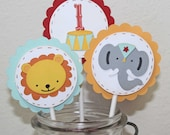 Custom order Circus Cupcake toppers - Circus birthday party, set of 32