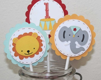 Circus Cupcake toppers - Circus birthday party, set of 12, Elephant and lion toppers
