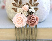 Wedding Hair Comb Dusty Pink Rose Comb Bridal Comb Flowers for Hair Leaf Rustic Branch Comb Wedding Hair Accessories Pearl Comb Country Chic