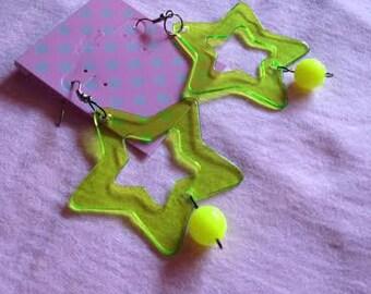 Bright Yellow Star Earrings