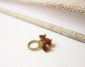 Tiny Trio- Natural Garnet Jewelry - Genuine Garnet Charms - 14k Gold Charms - Born in January Birthstone Charm - Healing Crystals and Stones