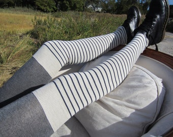 Striped Over the Knee Thigh High Socks Leg Warmers Ivory Navy Blue Stripe Knit Women's Cotton Boot Sock A1232