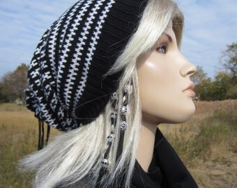 Black White Wool Knit Beanie Hat Womens Slouch Tam Tie Back A1452