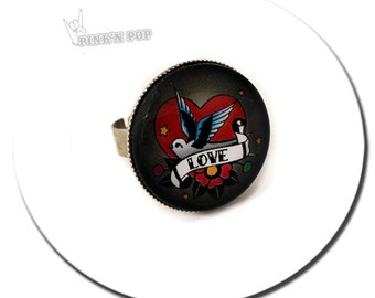 Ring Swallow Tattoo Love - Silver Plated Round Pad Medium