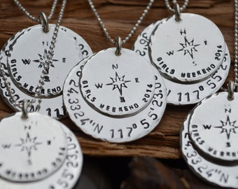 Map Coordinates Necklace on Silver Charms -Longitude and Latitude -Put Your Special Place -Wedding, Birthplace, Home, School, First Date