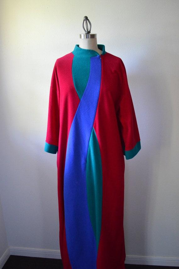 Vintage Robe 1970s Vanity Fair Robe Full Length Maroon Blue