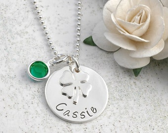 Four Leaf Clover Personalized Name Necklace - sterling silver