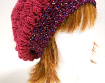 Womens Hat, Crocheted Slouch Hat, Winter Accessories, Slouchy Beanie Hat