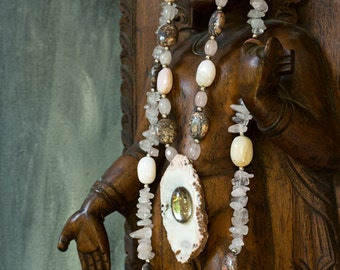 Stone and Mirror Statement Necklace - Double Strand Gemstone Bead Necklace with Antique Mirror and Drusy Agate Focal Piece