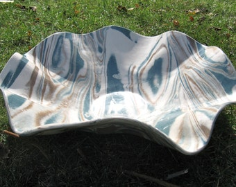 Large Pottery Serving Platter - Handmade Unique Wedding Gift - Ceramics and Pottery - Teal and Brown Agateware - Marbled Stoneware