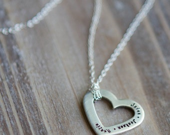 Family Heart Necklace - Hand Stamped Name Necklace - Personalized Custom Names or Quote - Sterling Silver - Gift for Mom