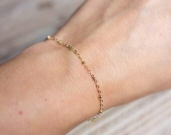 Gold Bracelet - 14k Gold Filled - Simple Delicate Everyday Bracelet - Satellite Chain Bracelet - Layering Bracelet - Mother's Day Gift