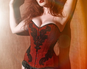 BESPOKE Deep Red overbust corset with Black Lace appliqué