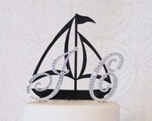 Nautical Beach Monogram Cake Topper - Your colors and letters