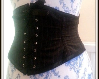 Pin Striped Steel Boned Short underbust - Shipping Included