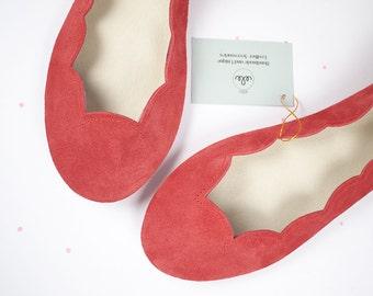 Geranium Red Soft Suede Scalloped Handmade Ballet Flats