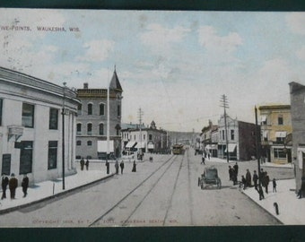 Five Points, Waukesha, Wisconsin - Vintage WI Postcard - Postmark 1911