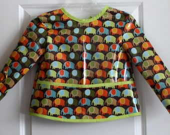 Toddler Baby Long Sleeved Baby Bib Art Smock  with Elephants