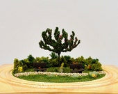 Sit and Stay a While - Small Garden, Desktop Park Scene, 4 inch Diorama