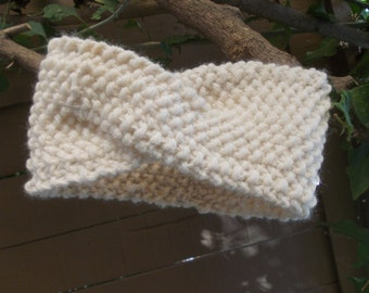 Hand Knitted Headband Ear Warmer Head Warmer With Crochet
