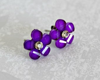 Titanium Post Earrings, Purple Glitter Flower with Jewel, 12 mm, Hypoallergenic
