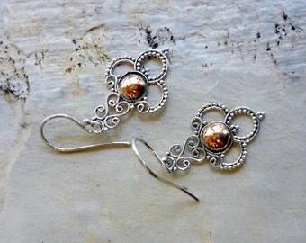 Sterling Silver rose gold Earrings, Dangle Earrings, Silver and solid Rose Gold, Two Tones Earrings, Long earrings, Dangle Earrings - EG589