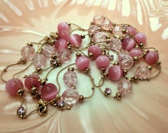 Pink Rhinestone Lucite Moon Glow Beads on Gold Tone Chain Necklace