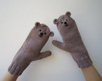 Teddy bear animal novelty mittens, brown luxuriously soft wool and bamboo,  kawaii.