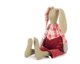 Easter Bunny Stuffed boy doll - khaki rabbit plush doll , wearing red checkered shirt and burgundy corduroy pants, handmade eco cloth doll