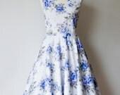 "SALE Vintage inspired bridesmaid dress Blue Roses- Size 6 - bust 36"" - SALE"