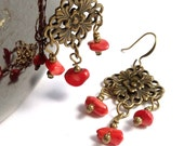 Antiqued Brass Wire Wrapped Bamboo Coral, Vintage Look, Filligree Diamond Shaped Dangle Earrings