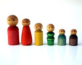 Waldorf Peg People Set, Eco Friendly Wooden Dollhouse Family Rainbow