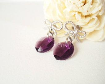 Silver Bow Earrings, Purple Leaf Earrings, Cute bow Earrings, Everyday Earrings, Violet, Crystal Jewelry, Nature Jewelry, Twisted Bows