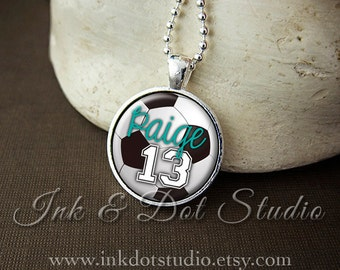 Soccer Necklace, Custom Soccer Pendant Necklace, Personalized Soccer Team Pendant, Soccer Mom, Soccer Ball