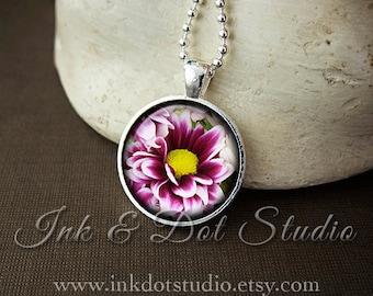 Beautiful Dahlia Flower Glass Photo Pendant Necklace